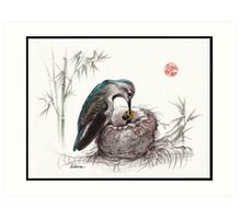 """""""A Mother's Love"""" - Mother Hummingbird and Baby Art Print"""