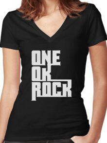 One OK Rock japanese rock band black Women's Fitted V-Neck T-Shirt