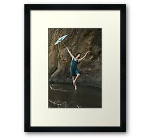 Dancer with Blue Parasol at Mendocino Beach Framed Print
