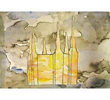 A Refuge From The Storms of Life - Image of the LDS Temple with Sky Overlay Photographic Print