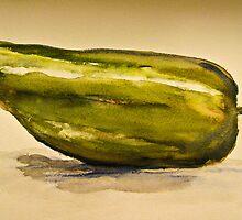 Jalapeño Pepper Still Life Watercolor by Natalie Cardon