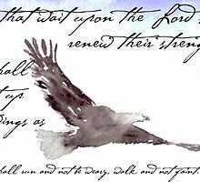 Flying Eagle Watercolor with Isaiah 40:31 Overlay by Natalie Cardon