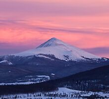 Mt Guyot under colorful skies by Jeanne Frasse