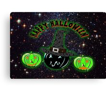 Halloween Pumpkins on an image of the Universe. Canvas Print