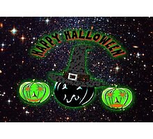 Halloween Pumpkins on an image of the Universe. Photographic Print