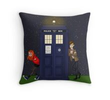 Amy Pond, the Doctor, and the TARDIS Throw Pillow