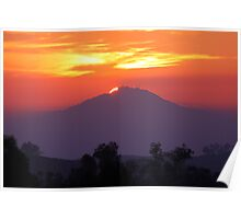 Sunset's Fog over Mount Woodson Poster