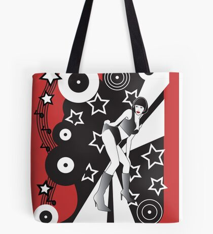 Retro Glam Discotheque Red Tote Bag