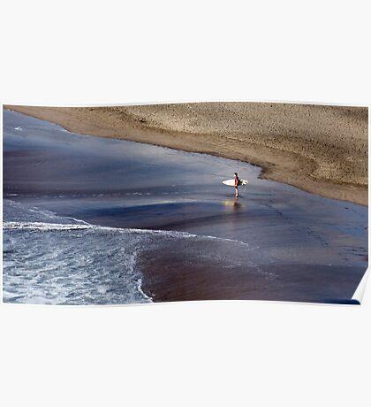 Wait for me - surfer at Piha, NZ Poster