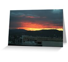 Rooftops of Brisbane City at Sunset Greeting Card
