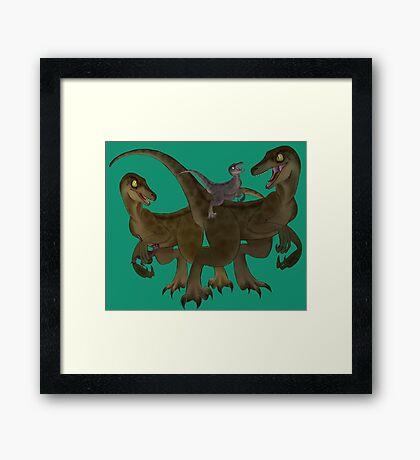 Velociraptor Family Framed Print