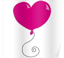 Fly Away Heart Balloons Poster