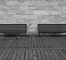 Waiting for tired feet-empty benches by mypic
