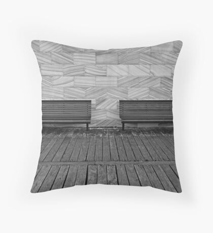 Waiting for tired feet-empty benches Throw Pillow
