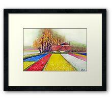 BULB FIELDS AND A DUTCH FARM - AQUAREL Framed Print