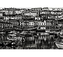 Brixham Harbour Mono Photographic Print