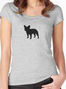 French Bulldog Silhouette Women's Fitted Scoop T-Shirt