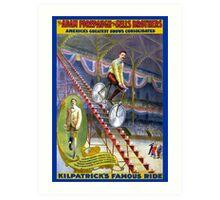 Vintage Circus Poster Print Kilpatricks Famous Ride Bicycle Art Print