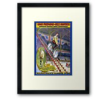 Vintage Circus Poster Print Kilpatricks Famous Ride Bicycle Framed Print