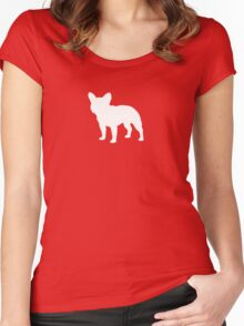 French Bulldog Silhouette (White) Women's Fitted Scoop T-Shirt