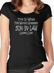 Worlds Greatest SON IN LAW Fathers Day Birthday Gift Funny Women's Fitted Scoop T-Shirt
