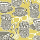 Tea owl yellow. by Ekaterina Panova