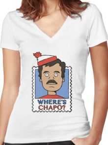 Where's Chapo - Stamp Women's Fitted V-Neck T-Shirt