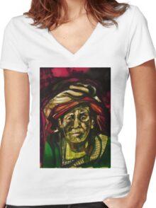 Nepali elder Women's Fitted V-Neck T-Shirt