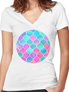 Bright Moroccan Morning - pretty pastel color pattern Women's Fitted V-Neck T-Shirt