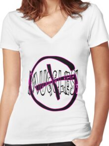 Geocaching muggles Women's Fitted V-Neck T-Shirt