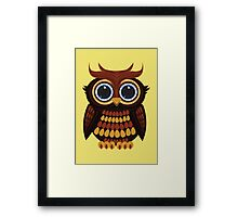 Friendly Owl - Yellow Framed Print