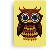 Friendly Owl - Yellow Canvas Print