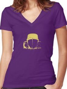 VW Beetle - Yellow Women's Fitted V-Neck T-Shirt