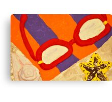 Beach Towel with Glasses, Seashell, and Starfish Canvas Print