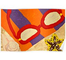 Beach Towel with Glasses, Seashell, and Starfish Poster