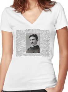 The Patents of Nikola Tesla Women's Fitted V-Neck T-Shirt