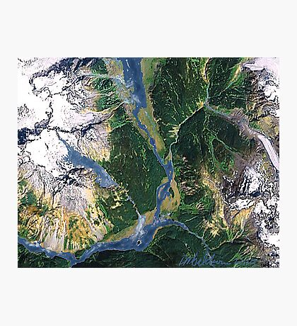 """""""Alaskan Spring"""" - The snow is receding and the valleys are greening. Photographic Print"""