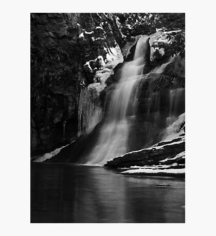 Ice Falls in Black & White Photographic Print