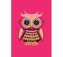 Star Eye Owl - Pink Orange 3 Photographic Print