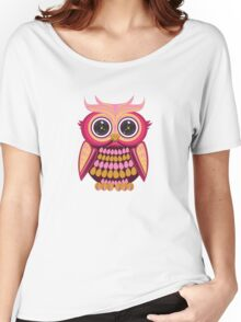 Star Eye Owl - Pink Orange Women's Relaxed Fit T-Shirt