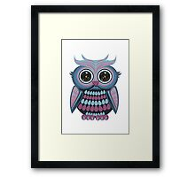 Star Eye Owl - Blue Purple Framed Print