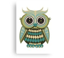 Star Eye Owl - Green 2 Canvas Print