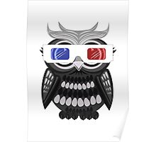 Owl - 3D Glasses - White Poster
