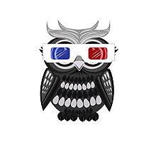 Owl - 3D Glasses - White Photographic Print