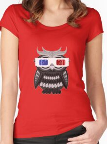 Owl - 3D Glasses Women's Fitted Scoop T-Shirt