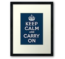 keep calm and carry on Framed Print