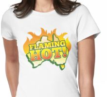 FLAMING HOT Aussie Australia map Womens Fitted T-Shirt