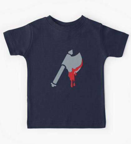 Medieval Viking Axe with dripping blood Kids Tee