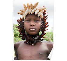 YOUNG MURSI GIRL DECORATED WITH SHELLS AND BEETLES WINGS Poster