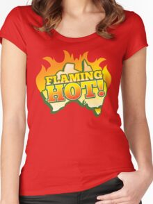 FLAMING HOT with aussie map and fire! Women's Fitted Scoop T-Shirt
